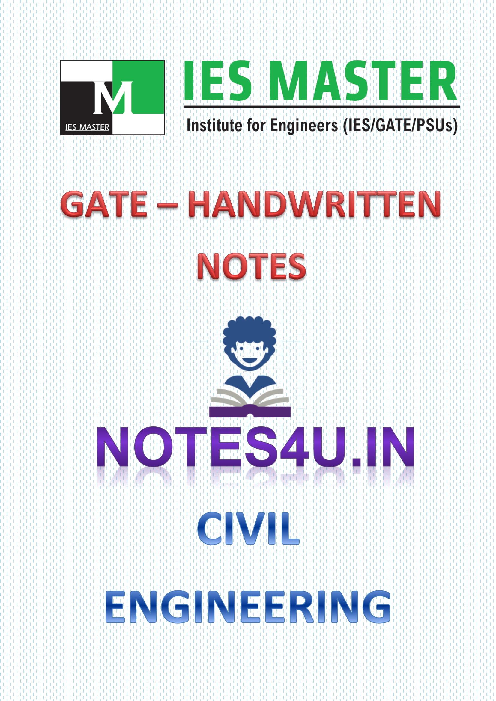 Civil Engineering IES MASTER HANDWRITTEN NOTES